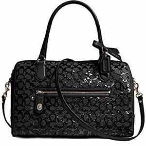 26438 Coach Black Sequin Satchel Bag EUC